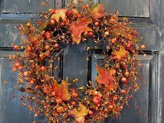 Thanksgiving Wreath  Fall Rustic Door Decor  by Designawreath, $48.95