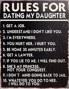 Rules for Dating My Daughter Decorative Metal Sign Retro Large 13 X 10 Inches Bar Pub Garage Man Cave - http://www.free-dating-sites-in-usa.com/product/rules-for-dating-my-daughter-decorative-metal-sign-retro-large-13-x-10-inches-bar-pub-garage-man-cave/