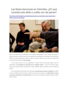 Las falsas denuncias en Colombia, En qué consiste este delito y cuáles son las penas?