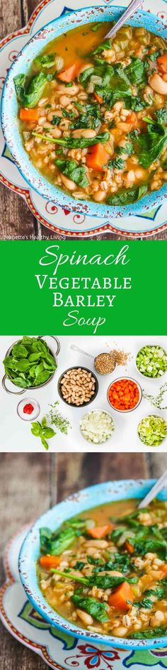 Spinach Vegetable Barley Bean Soup - a nutritious, hearty soup packed with vitamins and minerals, perfect for Fall and Winter ~ http://jeanetteshealthyliving.com ~ http://jeanetteshealthyliving.com