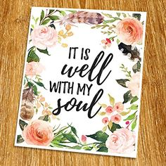 """It is well with my soul Print (Unframed), Watercolor Flower, Floral Quote, Motivational Poster, Entrance Wall Decor, Calligraphy Quote, 8x10"""", TA-069 >>> You can get more details by clicking on the image."""