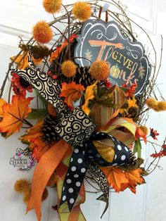 Fall Wreath with Give Thanks sign Pumpkins by SouthernCharmWreaths