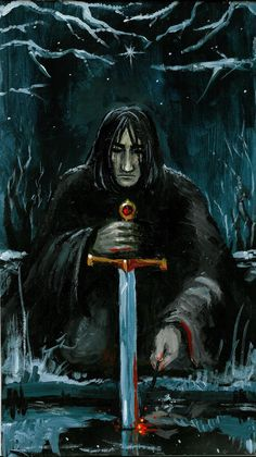 Severus Snape when he puts the Gryffindore-sword into the pool. A painting inspired by 's poem [link. Dark Knight of Magic Severus Snape Always, Professor Severus Snape, Severus Rogue, Harry Potter Style, Harry Potter Art, Harry Potter Portraits, Comic Movies, Deathly Hallows, Black Magic