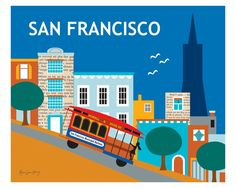 San Francisco, California - Nob Hill is available in an array of finishes, materials, and sizes, this retro inspired wall art will make San Francisco feel close to your heart with its bright color pal