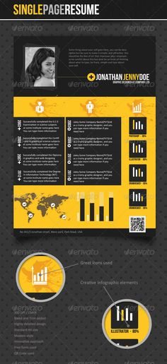 """Buy Stylish - Single Page Resume by anchor_point_heshan on GraphicRiver. """"All human development, no matter what form it takes, must be out side the rules, other wise we would never have anyt. Unique Resume, Best Resume, Resume Cv, One Page Resume Template, Resume Design Template, Free Cover Letter, Cover Letters, Creative Infographic, Human Development"""