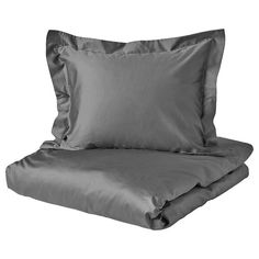 IKEA - PUDERVIVA, Quilt cover and 2 pillowcases, dark grey, The natural fibres in linen create subtle variations in the surface which gives your bedlinen a distinctive texture and matte lustre. Decorative ribbons keep the quilt and pillow in place. Ikea Family, Quilt Cover Sets, Linen Bedding, Pillow Cases, Outdoor Blanket, Quilts, Pillows, Grey, Place