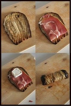 Les roulés d'aubergine, jambon de pays et fromage de chèvre