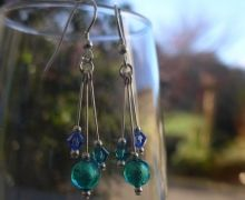 Murano glass jewellery by Firefrost is designed and handmade in Cumbria, UK. Artisan beads with sterling silver, our jewellery is vibrant, unique & beautiful. Glass Earrings, Glass Jewelry, Glass Beads, Drop Earrings, Jewellery, Murano Glass, Swarovski Crystals, Blues, Handmade Jewelry
