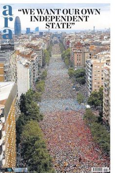 Huge demonstration in Barcelona, the capital of Catalonia on September 2015 ~ ღ Skuwandi Political Status, Catalan Independence, Image Cat, Barcelona Spain, Cool Pictures, City Photo, Tourism, Spanish, Poster Prints