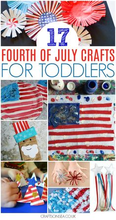 Need some fun of July activities for toddlers? We've got all the inspiration you need with over 30 fantastic ideas including fourth of July flag crafts, messy play, colouring pages, patriotic noisemakers and sensory play ideas. Craft Activities, Preschool Crafts, Toddler Activities, Fun Crafts, Arts And Crafts, Summer Activities, Daycare Crafts, Toddler Preschool, Preschool Activities