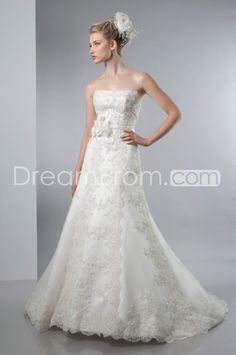 Amazing A-line Strapless Floor-Length  Chapel Train Lace & Flower Wedding Dresses 2014 New Style