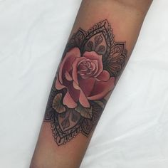 "2,370 Likes, 51 Comments - Ellie Thompson (@ellietattoo) on Instagram: ""I love doing these decorative roses. Thanks teejay! My last tattoo as a 27 year old haha wooo!"""