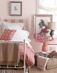 """Pink Bedroom - this doesn't look """"young"""" because it's a grey pink and it uses a LOT of taupe to balance it. This works."""