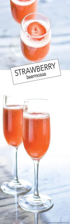 Strawberry Beermosas: combining beer, oj and strawberry puree, are a fun and exciting way to incorporate into your Easter brunch! | www.cookingandbeer.com