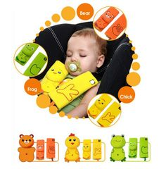 Baby Car Shoulder Pad Seat Belt Strap Cover With Pacifier Teether Holder 4 Colors