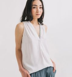 Viscose top with embellished V neck <3 . Also in black and light grey ---  Top+chic PROMOD art. 1-4-26-01-52-020