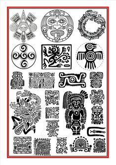 Aztec Calendar Tattoos for Men Aztec Tattoo Designs, Aztec Designs, Arte Tribal, Aztec Art, Mayan Tattoos, Tribal Tattoos, Chicano Tattoos, Indian Tattoos, Inka Tattoo