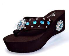 B Western Cowgirl Crystal Nomad Concho Wedge Flip Flop