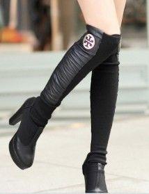 ECOSCO-Women-Fashion-Leather-Cotton-inset-sock-wrap-Knitting-patchwork-Leisure-boot-shoe-wrap-socks-BLACK-0