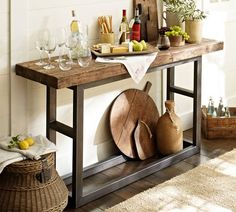 East Coast Creative: DIY Console Table {A Pottery Barn Knock Off} - House Decorators Collection Decor, Diy Furniture, Mini Bar At Home, Reclaimed Wood Console Table, Decor Inspiration, Home Decor, Wood Furniture, Wood And Metal, Diy Console Table