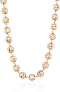 This stunning Moon Cut Ball Beaded Chain Necklace is crafted in solid 14k rose gold. It is just waiting to showcase your favorite pendant or shine on its own on your neck! #necklace #jewelry