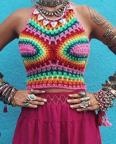 Rainbow Dayz crochet crop top* psychedelic clothing trippy shirt festival top rave clothing yoga clothing hippie clothing Electric Forest by Acreativewonderland on Etsy https://www.etsy.com/listing/232676862/rainbow-dayz-crochet-crop-top