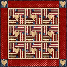 Flag and Heart Quilt pattern ~ nice for either of July, Memorial Day or Veteran's Day.don't you think? Nicely done. Instructions are on two pages.easy to do. Big Block Quilts, Blue Quilts, Star Quilts, Quilt Blocks, Flag Quilt, Patriotic Quilts, Heart Quilt Pattern, Quilt Block Patterns, Summer Quilts