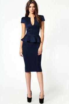 Emily Slit Neck Cap Sleeve Peplum Midi Dress from boohoo. Saved to Dresses Office Fashion, Work Fashion, Peplum Midi Dress, Pencil Dress, Midi Dresses, Navy Dress, Moda Vintage, Mode Inspiration, Work Attire