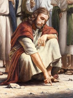 Our Lord Jesus Christ drawing in the sand- enter the kingdom of God with child-like faith. Bible Pictures, Religious Pictures, Jesus Pictures, Jesus Our Savior, Jesus Is Lord, Image Jesus, Jesus Christus, Jesus Face, Biblical Art