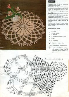 Beige doily with diagram