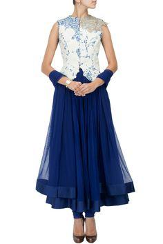 Blue anarkali set with printed embellished jacket BY RIDHI MEHRA. Shop now at: www.perniaspopups... #indian #ridhimehra #india #designer #ethnic #amazing #beautiful #amazing #gorgous #perniaspopupshop #happyshopping