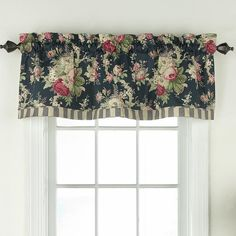 Features:  -Sanctuary Rose collection.  -Curtain rod sold separately.  -Machine washable.  Product Type: -Curtain valance.  Design: -Tailored.  Color: -Herritage Blue.  Material: -Cotton. Dimensions: