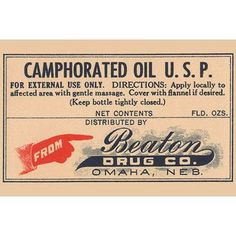 Buyenlarge 'Camphorated Oil U.S.P.' Vintage Advertisement Size: