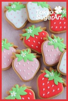 Fruit Cookies, Strawberry Cookies, Iced Cookies, Cute Cookies, Cupcake Cookies, Cookie Favors, Baby Cookies, Flower Cookies, Heart Cookies