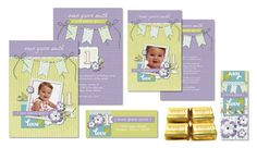 Cute coordinating set of #DIY customizable #birthdayparty invites, thank you cards, address labels and candybar wraps! Heritage Makers templates: 103195,103196, 103197, and 103198   #digiscrap