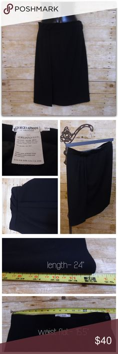 Giorgio Armani Wool Skirt I'm perfect condition!  This wool skirt features pleating detail at the waist and a faux-wrap look. It's a-line cut makes it a flattering choice for many body types. Giorgio Armani Skirts A-Line or Full