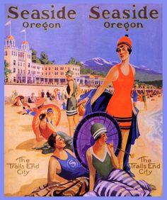 Seaside, Oregon vintage beach travel poster  1920s illustration  parasol  USA
