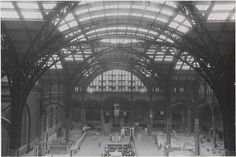 1964-1965: The iron structure of the train shed in Penn Station during demolition.
