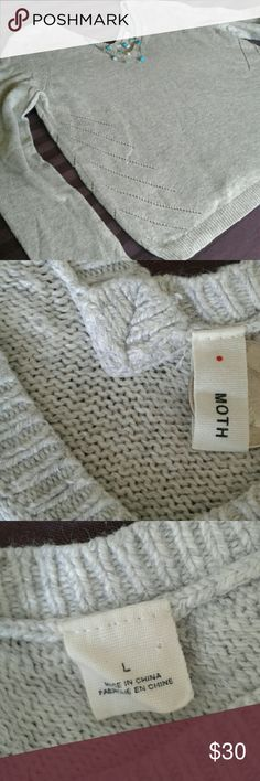 "Anthropologie by Moth Sweater From Anthropologie,  by Moth, gray sweater, with detailing on sides from front to back.  Boxy shape.  V-neck in front and back.  Cashmere blend.  Arm put to arm pit about about 21"", Shoulder to hem about 24"". Anthropologie Sweaters V-Necks"