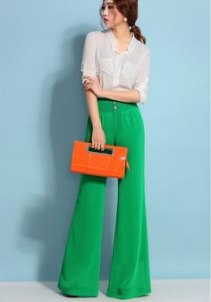 New 2014 Brand Wide Leg Chiffon Causal Green Color Large Sizes xxxl High Quality Ladies Trousers Women's Clothing-in Pants & Capris from Women's Clothing & Accessories on Aliexpress.com | Alibaba Group