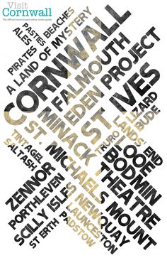 Tourism poster - Typography W/O Photograph. Cornwall