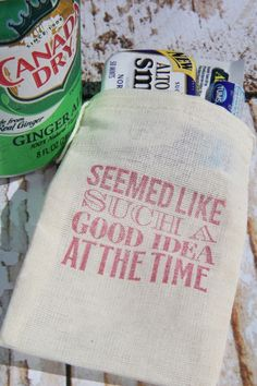 """Wedding Hangover Kits: """"Seemed like SUCH a good idea at the time."""" LOL!"""