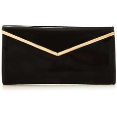 V By Very Patent V Bar Clutch Bag ($19) ❤ liked on Polyvore featuring bags, handbags, clutches, patent leather purse, patent purse, patent leather handbags, handbags purses and party handbags