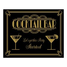 Get the Deal: ART Deco Cocktail bar sign Gatsby Party Poster Prohibition Party, Speakeasy Party, Prohibition Ends, Art Deco Bar, 1920s Art Deco, Fiesta Art Deco, Great Gatsby Party Decorations, Formal Party Themes, 1920 Theme Party