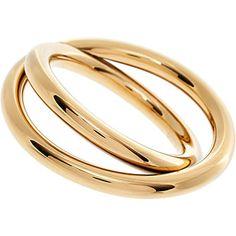 Calvin Klein Gold Tone Double Cross Over Ring