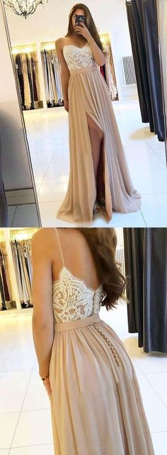 champagne prom dresses 2021 lace applique elegant prom gown cg15773 Blush Prom Dress, A Line Prom Dresses, Event Dresses, Chiffon Dress, Dress Prom, Party Dresses, Bridesmaid Dresses, Wedding Guest Gowns, Mode Hijab