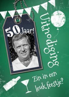 Vrolijke schoolbord uitnodiging 50 jaar, zelf in te vullen - Uitnodigingen - Te vinden op: www.kaartje2go.nl/uitnodigingen