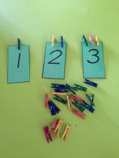 Prep Maths - numbers 1 - 20. Give the students a bag of numbers and a little bag of pegs. They clip the number of pegs onto the card and then you could have them order the numbers. We are starting with 1-10 this week but the document has numbers to 20.