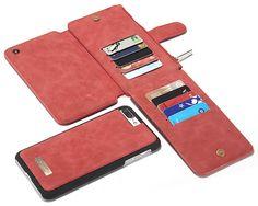 CaseMe 007 iPhone 7 Plus Zipper Wallet Detachable 2 in 1 Flip Case Red