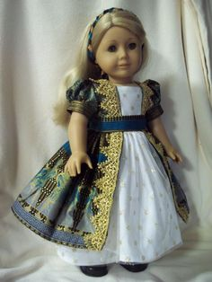 "Beautiful Regency style dress made for 18"" American girl Caroline Marie Grace Samantha historical egypt. $46.00."